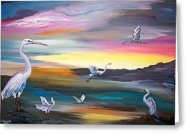 Egrets In Flight Greeting Card