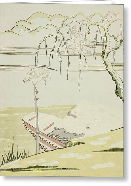 Egrets In The Snow Greeting Card by Suzuki Harunobu