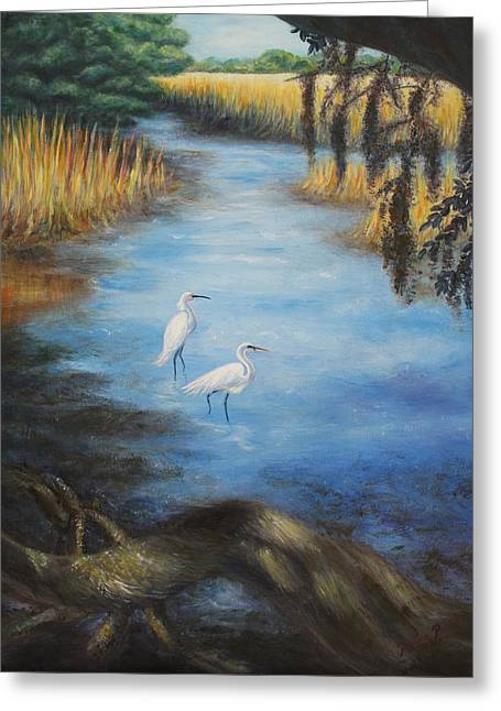 Egrets On The Ashley At Charles Towne Landing Greeting Card by Pamela Poole