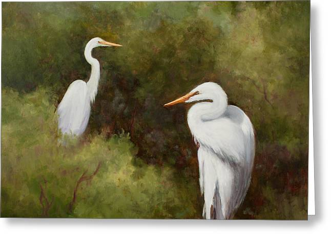 Egrets Roosting Greeting Card