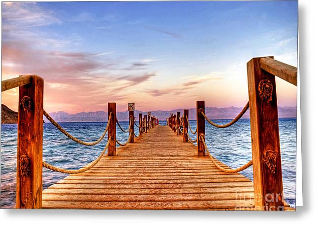Egypt Red Sea Sunset Greeting Card by Chris Smith