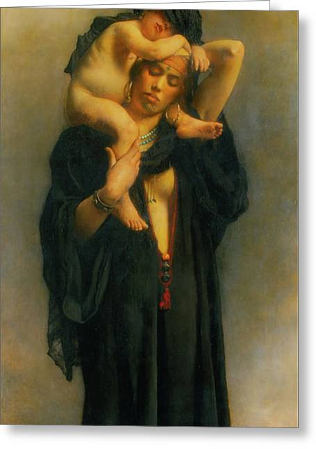 Egyptian Peasant Woman And Her Child Greeting Card