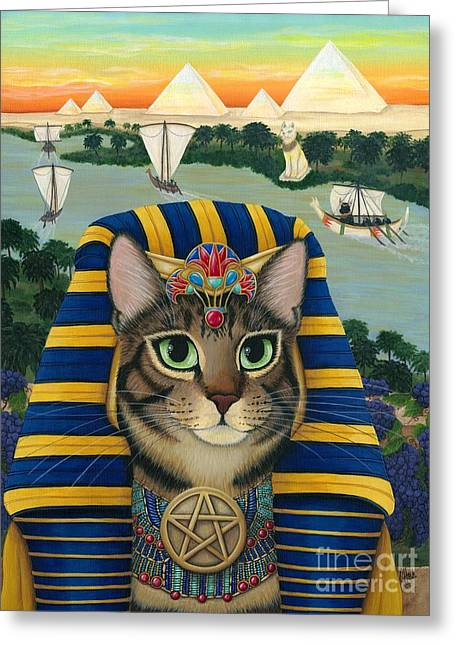 Egyptian Pharaoh Cat - King Of Pentacles Greeting Card
