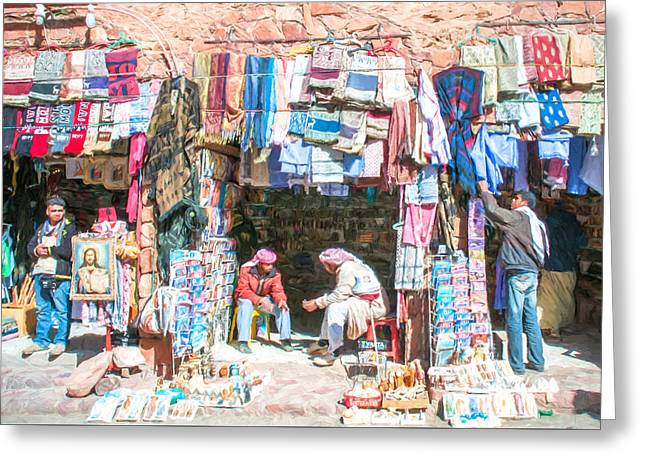 Egyptian Shop Keepers 2 Greeting Card by Roy Pedersen
