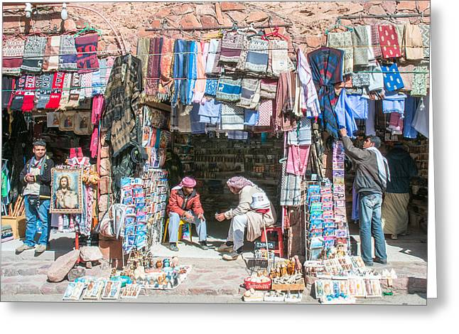 Egyptian Shop Keepers Greeting Card by Roy Pedersen