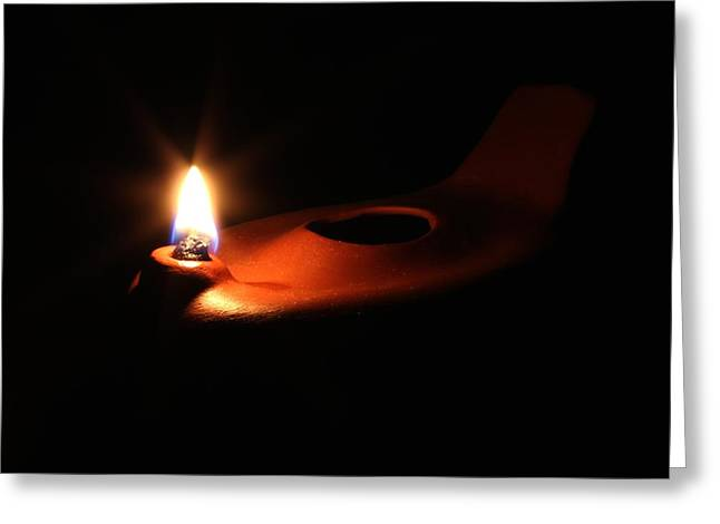 Oil Lamp Ceramics Greeting Cards - Egyptian Style Lamp - Terracotta 2 Greeting Card by Robert Morin