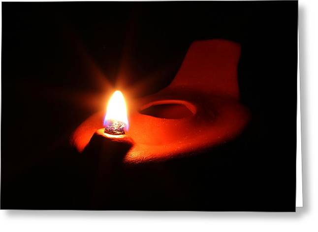 Oil Lamp Ceramics Greeting Cards - Egyptian Style Lamp - Terracotta 9 Greeting Card by Robert Morin