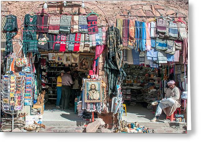 Egyptian Tourist Shops Greeting Card by Roy Pedersen