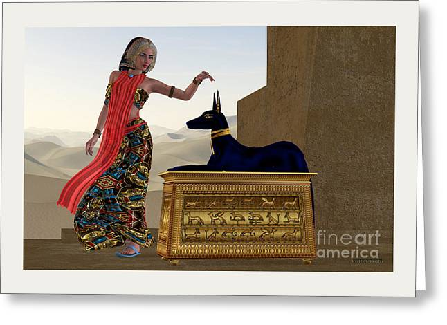 Egyptian Woman And Anubis Statue Greeting Card