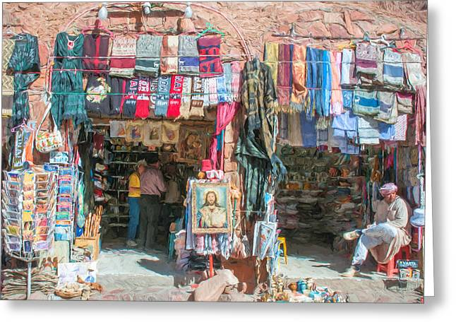 Egyptian Tourist Shops 2 Greeting Card by Roy Pedersen