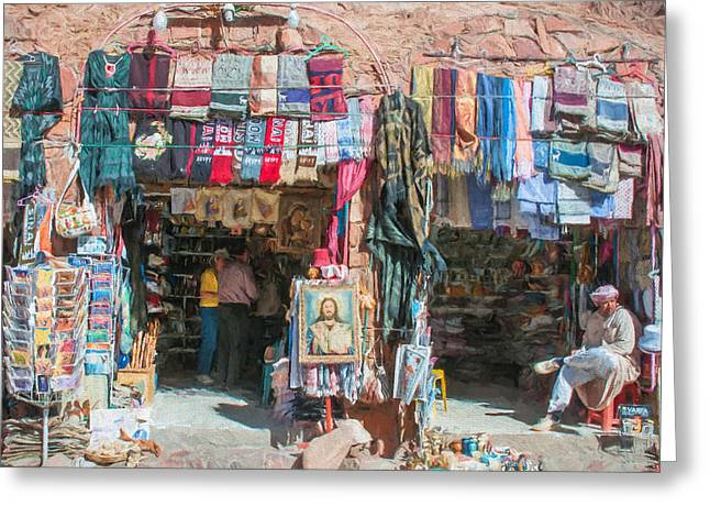 Egyptian Tourist Shops 3 Greeting Card by Roy Pedersen