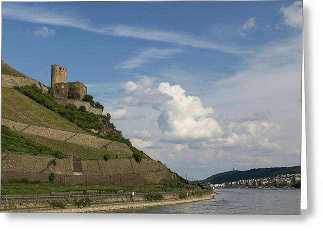 Ehrenfels Castle With View Of Bingen Greeting Card