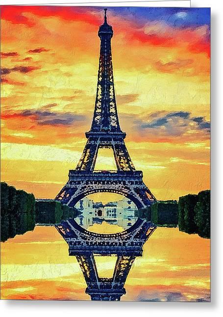 Eifel Tower In Paris Greeting Card by PixBreak Art