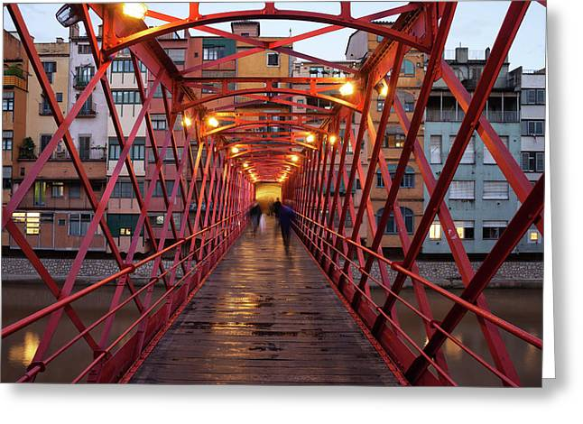 Eiffel Bridge In Girona At Dusk Greeting Card by Artur Bogacki