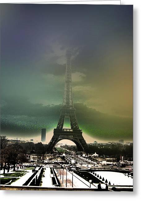 Eiffel Haze Greeting Card by Menucha Citron