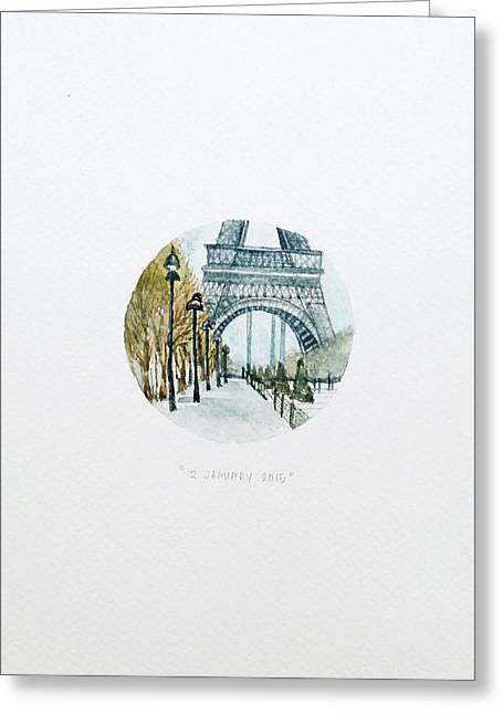 Eiffel In January Greeting Card by Venie Tee