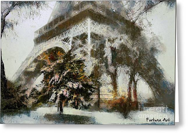Eiffel In The Snow Greeting Card