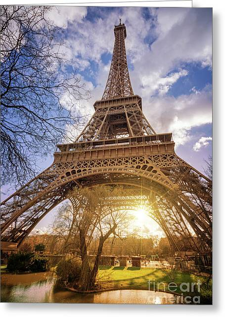 Eiffel Sunset Greeting Card by Delphimages Photo Creations