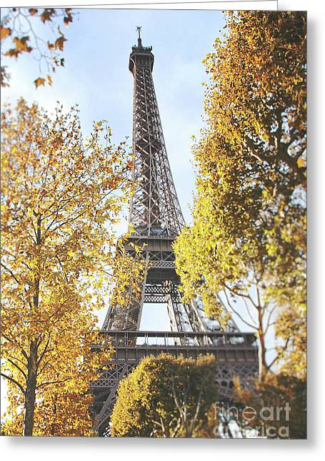 Greeting Card featuring the photograph Eiffel Tower Amidst The Autumn Foliage by Ivy Ho