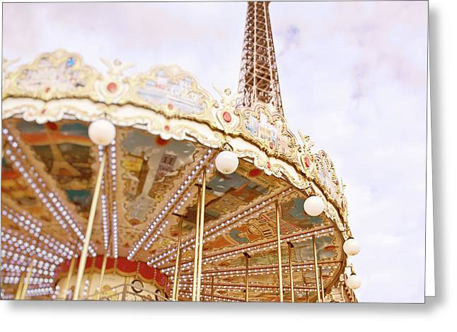 Greeting Card featuring the photograph Eiffel Tower And Carousel by Ivy Ho