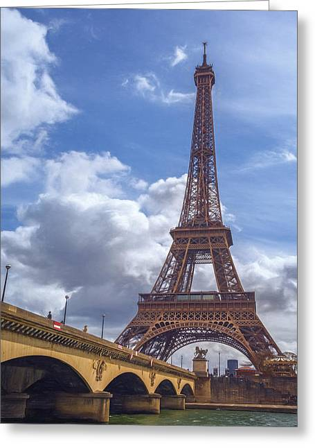 Eiffel Tower And Pont D'lena Painterly Greeting Card by Joan Carroll