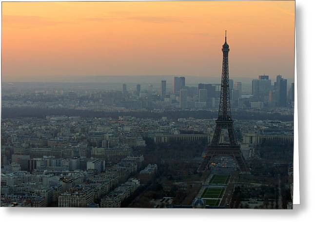 Eiffel Tower At Dusk Greeting Card by Sebastian Musial