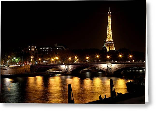 Greeting Card featuring the photograph Eiffel Tower At Night 1 by Andrew Fare