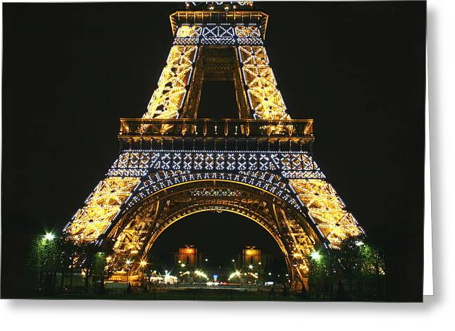 Eiffel Tower At Night Greeting Card by Hans Jankowski