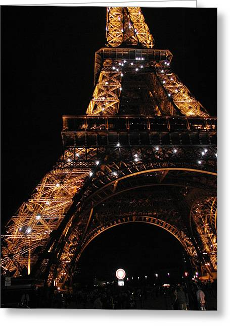 Greeting Card featuring the photograph Eiffel Tower At Night by Nancy Taylor
