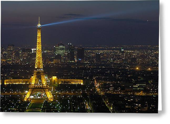 Eiffel Tower At Night Greeting Card by Sebastian Musial