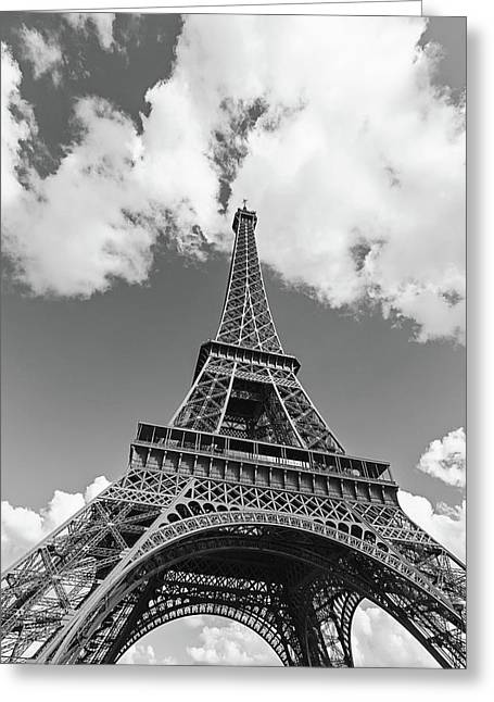 Eiffel Tower - Black And White Greeting Card