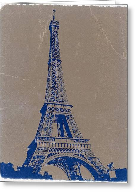Eiffel Tower Blue Greeting Card by Naxart Studio