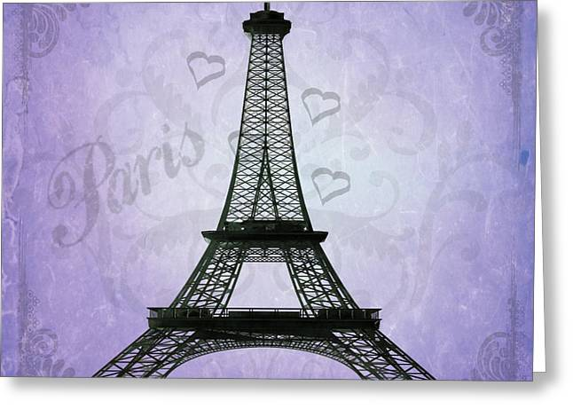 Eiffel Tower Collage Purple Greeting Card by Jim and Emily Bush