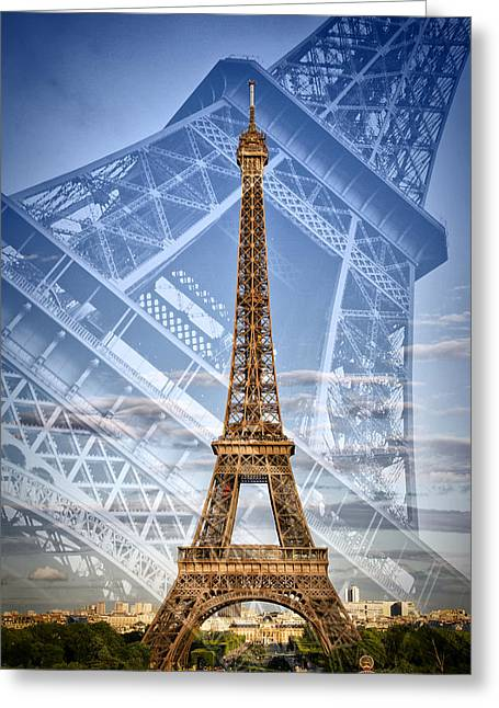 Eiffel Tower Double Exposure II Greeting Card by Melanie Viola