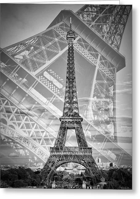 Eiffel Tower Double Exposure II Monochrome Greeting Card by Melanie Viola
