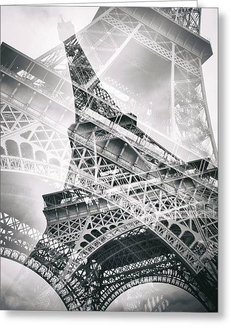 Eiffel Tower Double Exposure Greeting Card