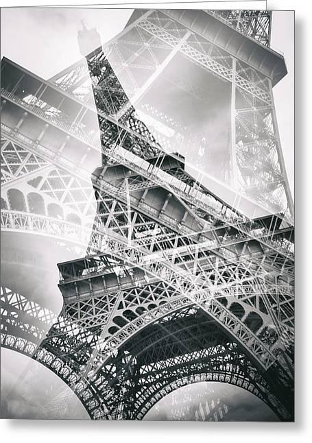 Eiffel Tower Double Exposure Greeting Card by Melanie Viola