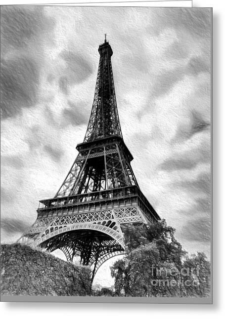 Eiffel Tower Dream Bw Greeting Card by Mel Steinhauer