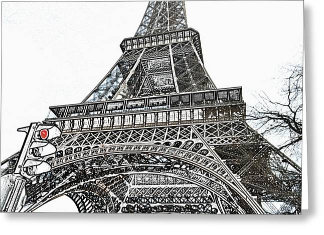 Eiffel Tower First And Second Floor Perspective With Red Stoplight Colored Pencil Digital Art Greeting Card
