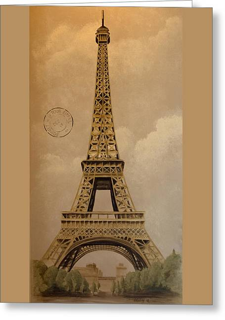 Eiffel Tower Greeting Card by Holly Whiting
