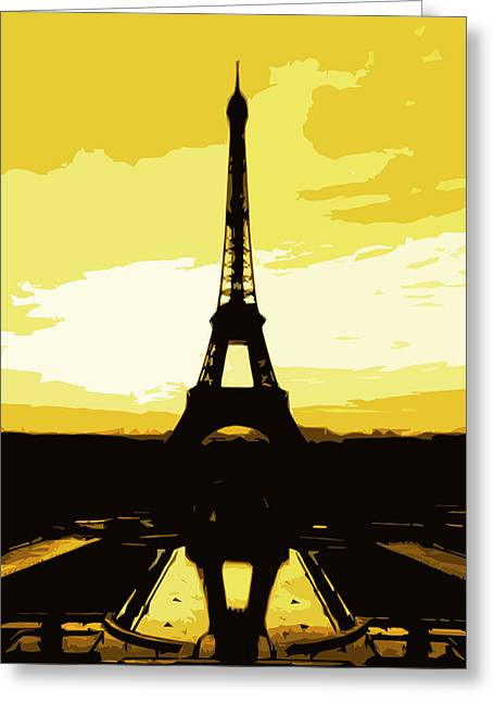 Eiffel Tower In Gold Greeting Card by Nilla Haluska