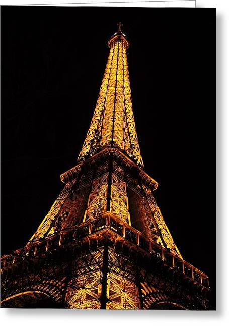 Eiffel Tower In The Night Greeting Card by Tamara Sushko