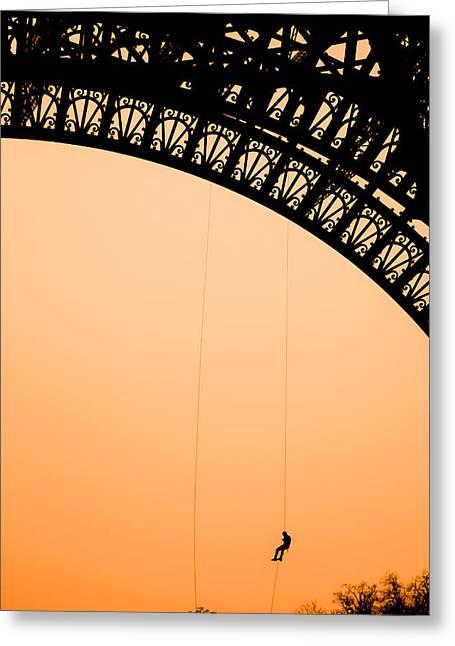 Eiffel Tower Workman Greeting Card by Nila Newsom