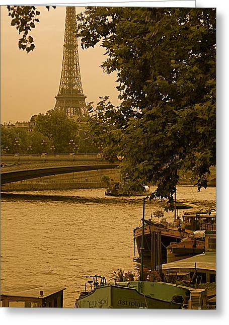 Eiffel Tower Greeting Card by Louise Fahy
