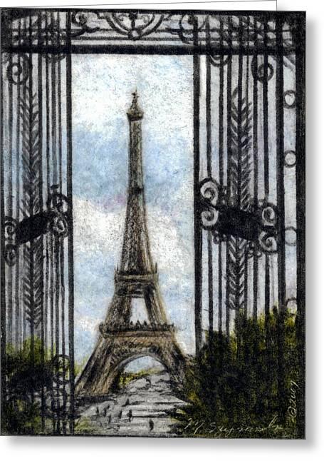 Eiffel Tower Greeting Card by Melissa J Szymanski
