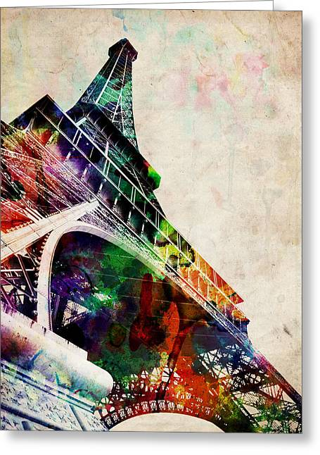 Landmarks Tapestries Textiles Greeting Cards - Eiffel Tower Greeting Card by Michael Tompsett