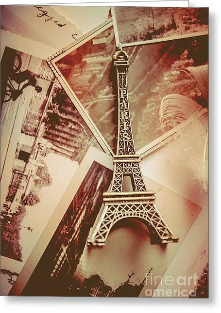 Eiffel Tower Old Romantic Stories In Ancient Paris Greeting Card by Jorgo Photography - Wall Art Gallery