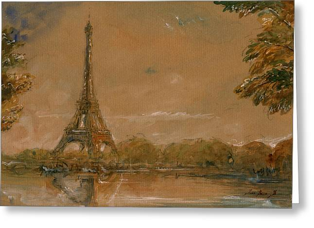 Eiffel Tower Paris Watercolor Greeting Card by Juan  Bosco