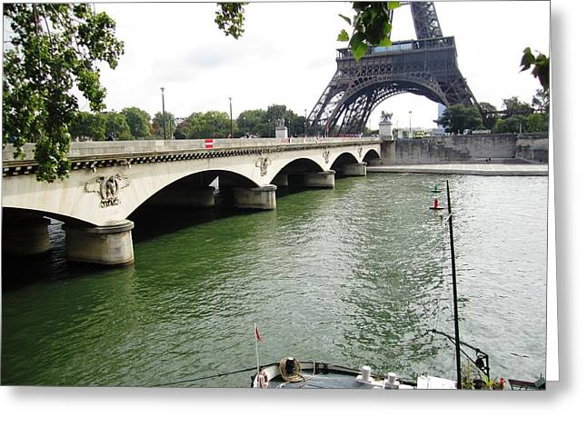 Eiffel Tower Seine River II Paris France Greeting Card
