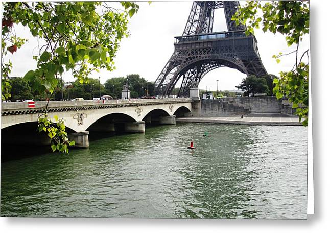 Eiffel Tower Seine River Paris France Greeting Card